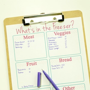 Freezer Organizing - Free Inventory Printable