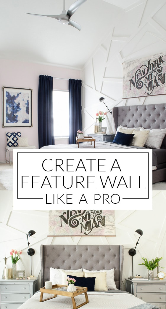 Not all feature walls have to be shiplap. Get the tutorial for this modern wall treatment, along with links to 18 other posts all with unique feature wall ideas!
