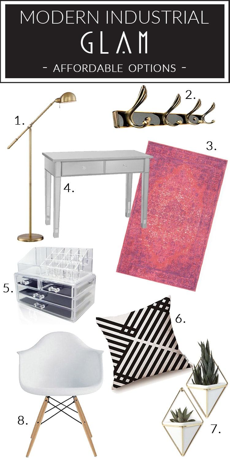No budget for expensive decor? Check out these affordable Modern Industrial Glam pieces that can all be ordered from Amazon!