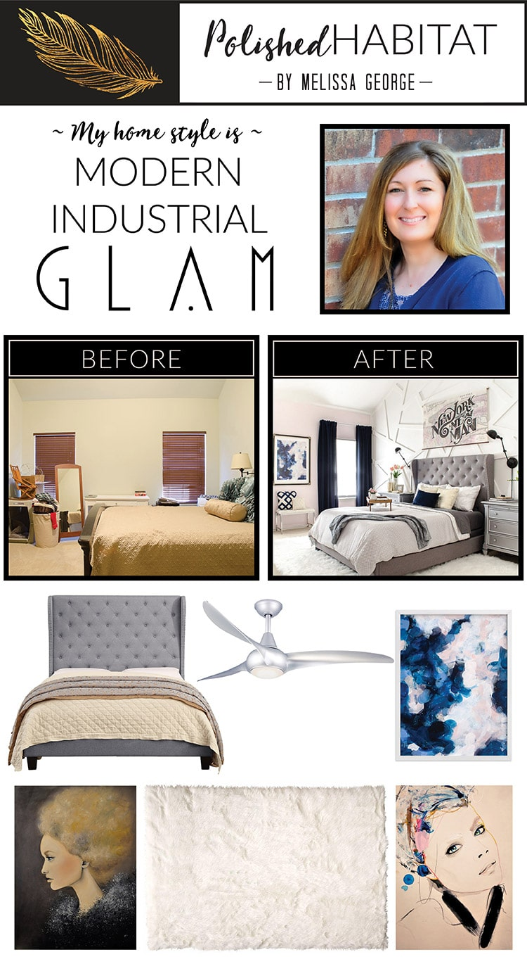 Do you love mixing girly glam details with a more downtown industrial feel? Your home style might be Modern Industrial Glam! Read all about it and find affordable decor options in this post.