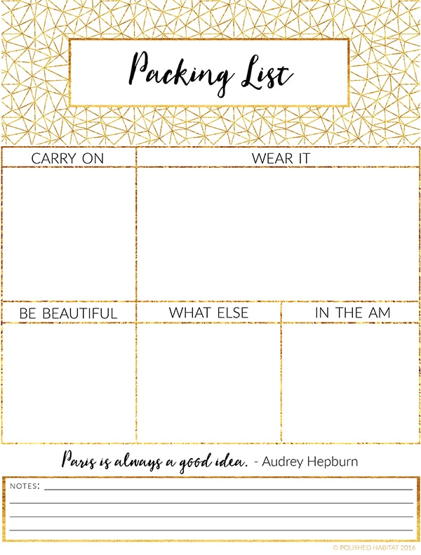 FREE Printable Packing List - Love the tips on this site too.