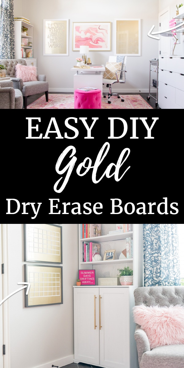 Gold Dry Erase Boards in a pink and white office
