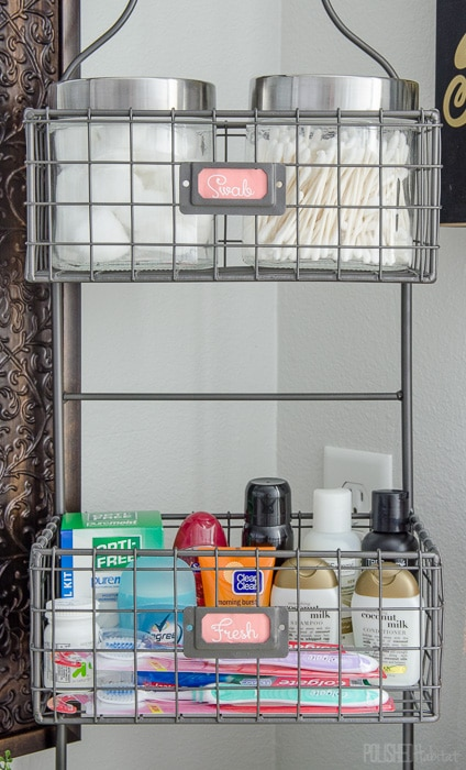 Use a tiered organizer to add lots of bathroom storage on a budget.