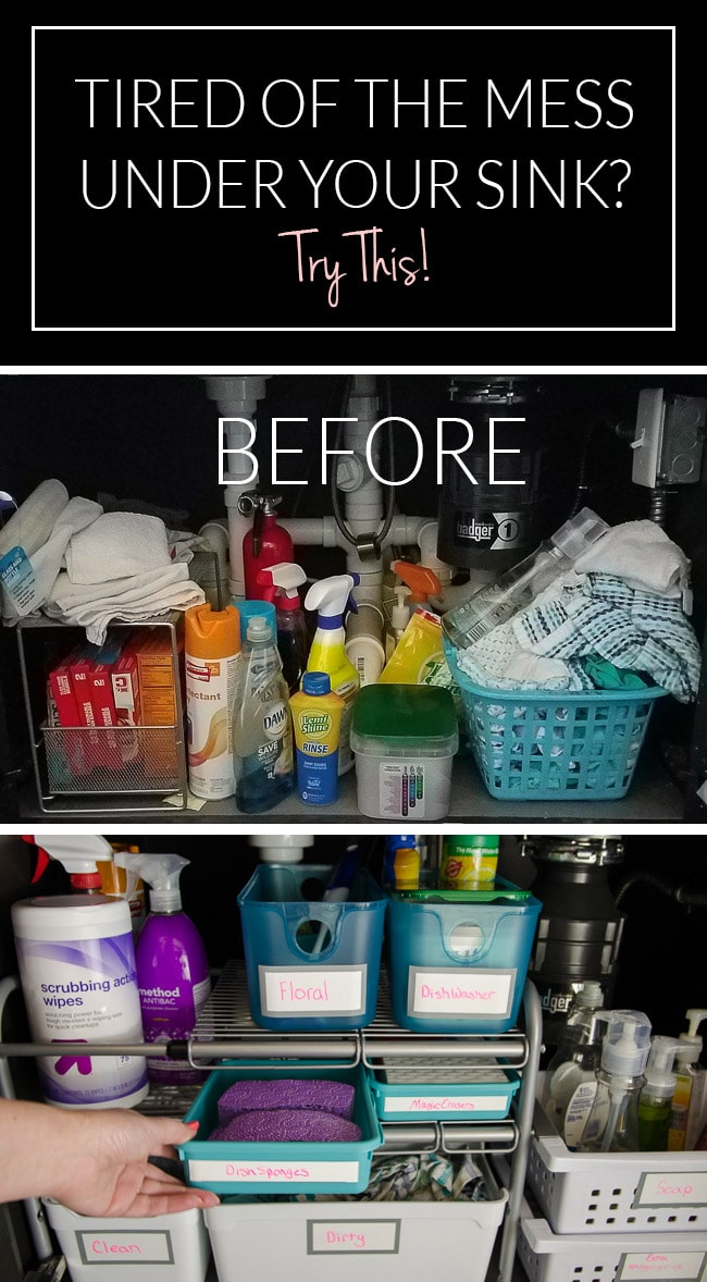 If you've got a mess under your sink, you need to see these ideas! The plumbing was a big problem trying to organize this island sink, but the right affordable under sink organizer made all the difference.