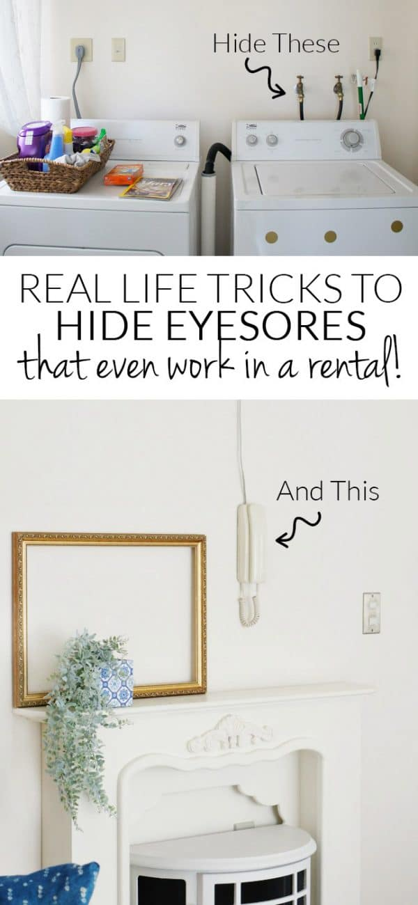 Tricks and examples of creative ways to decorate around eyesores when you can't remove them. Perfect for rentals!