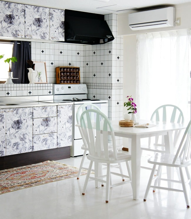 hide ugly kitchen cabinets with removable wallpaper