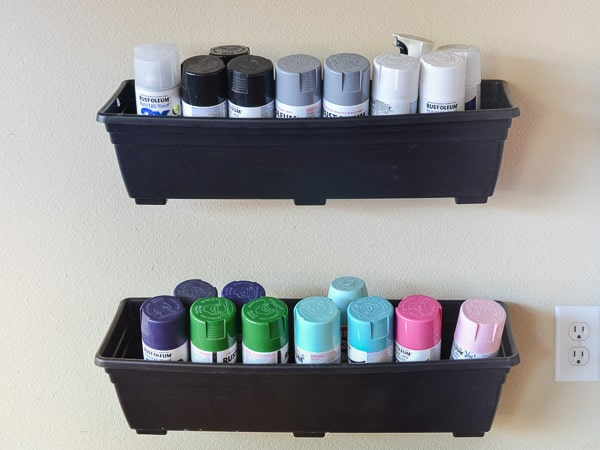 Quick Idea for Spray Paint Storage - Click for other garage organizing ideas!