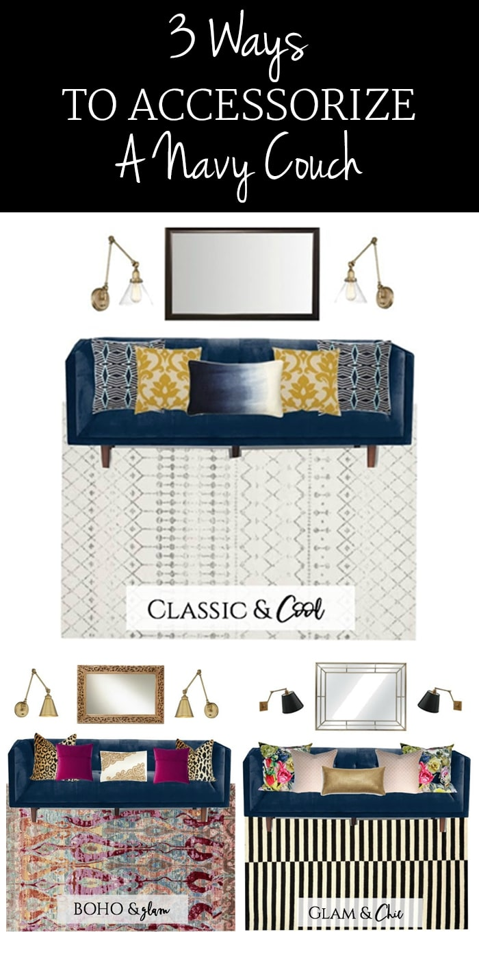 Navy couch? Decorate it in style with any of these chic options for your living room!