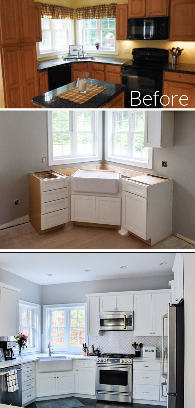 Oak Kitchen Renovation - Before & After from outdated oak to a bright white kitchen that blends modern and farmhouse touches.