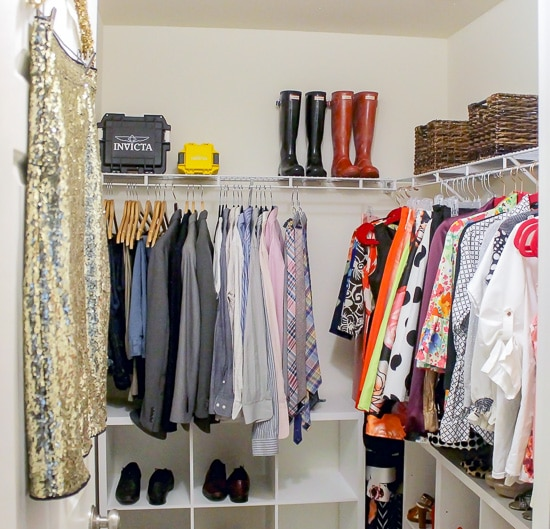 If you've got a small master closet, you need these quick tips. They're perfect for keeping the peace in a shared space.