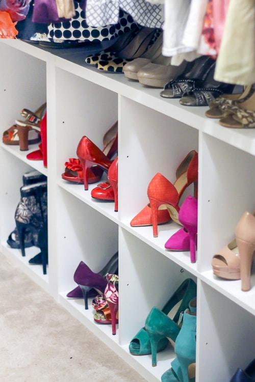Use storage cubes to add shoe storage in a shared master closet. It's the perfect way to add closet storage for renters or if you don't have the tools or budget for built-in shoe shelves.