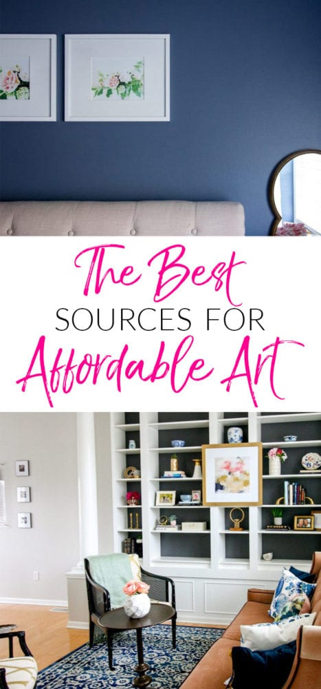 Cheap art ideas for my walls have transformed my house for WAY less money than my guests think. I love decorating my house on a budget! This breakdown of affordable art is such a great resource.