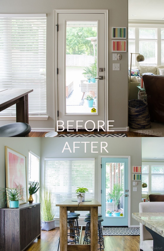 Painting a door can make a dramatic change to the style of your room. Best of all, it can be done in an hour for the cost of a quart of paint. Or use leftover paint from an adjoining room to create cohesion AND save a bit money!