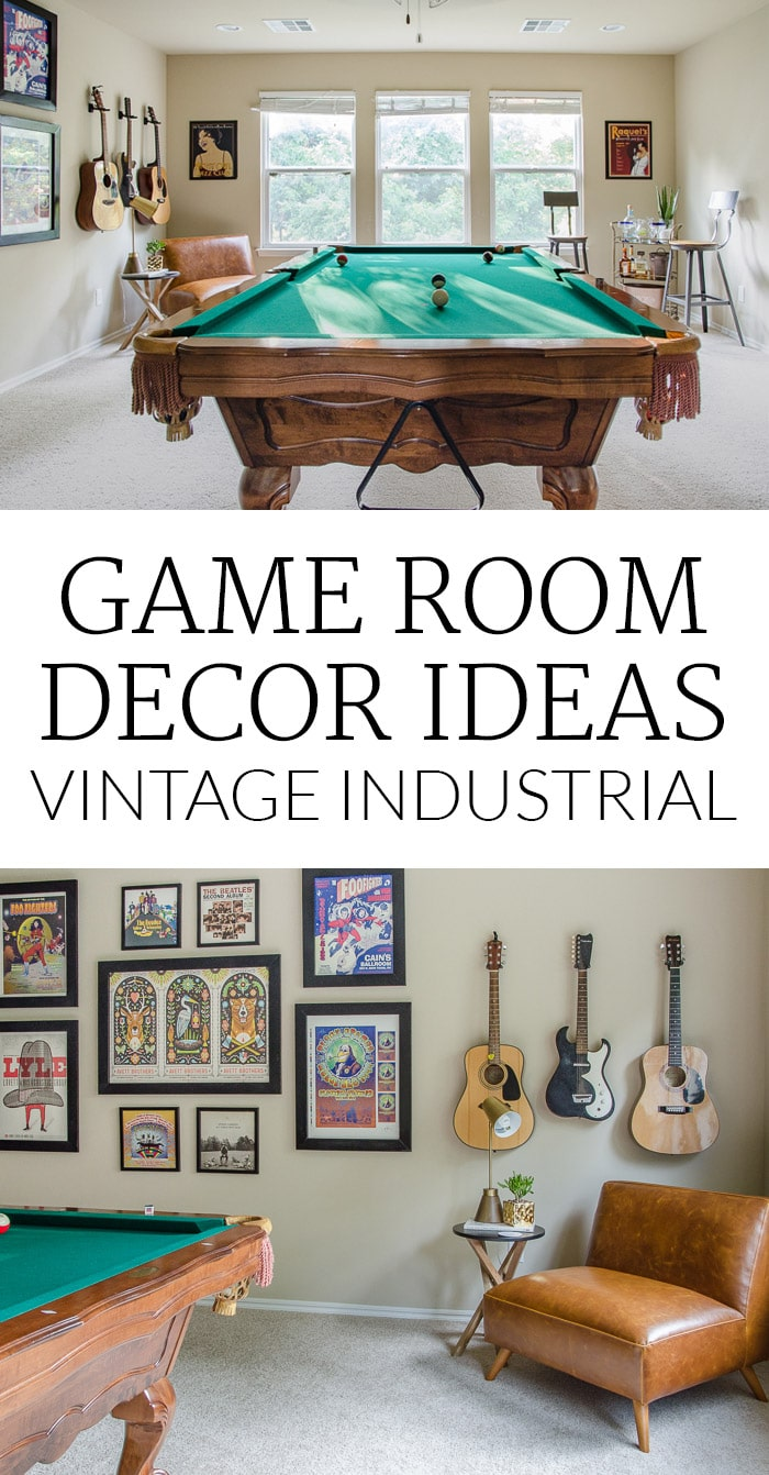 Game Room Decor - Pool Table and Vintage Industrial Design
