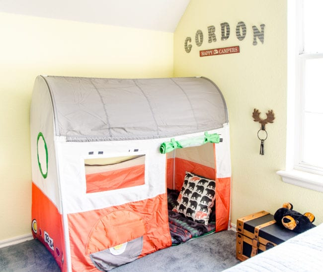 Ikea Camper Play Tent in a Camping Themed Room for a Little Boy