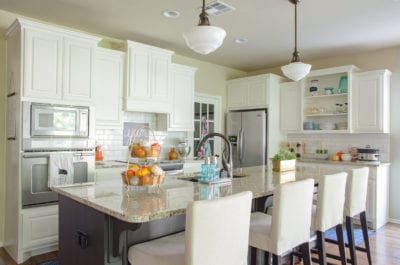 Kitchen with orange and teal accents