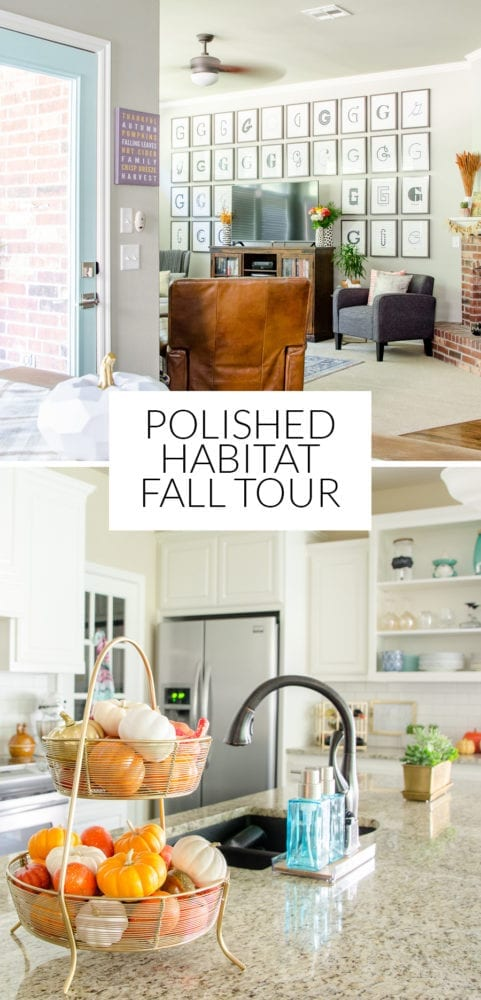 Modern / Transitional Fall Home Decor - Orange, Navy, Teal & Gray - Click for the full tour!