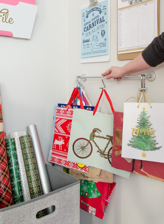 These hooks are PERFECT for Gift Bag Storage!