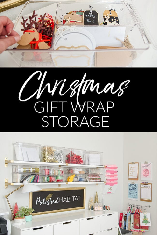 Christmas Gift Wrap A Mess? Try these simple ideas for an organized gift wrap storage.