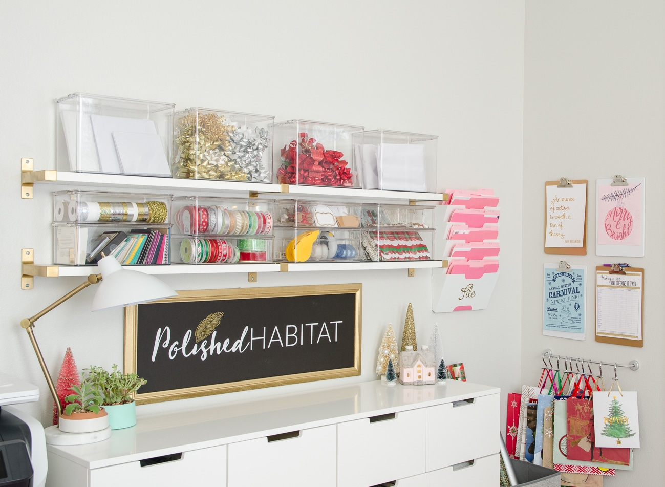 How To Organize Gift Wrapping Supplies Christmas Edition Polished Habitat