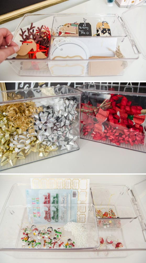 This post is full of ideas for storing every tip of gift wrapping supply. Bows, gift tags, & tissue paper all work great in these storage bins. Especially for organizing Christmas wrap!
