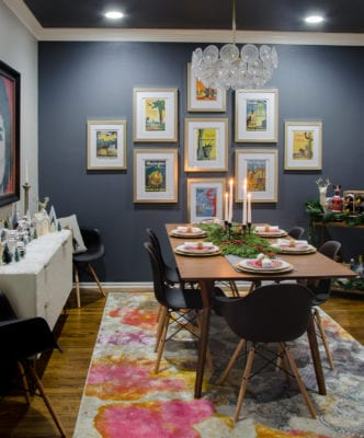 Modern Glam Dining Room Decor with a Mid-Century Twist - West Elm Mid-Century Expanding Table & Eames Chairs + Audrey Buffet