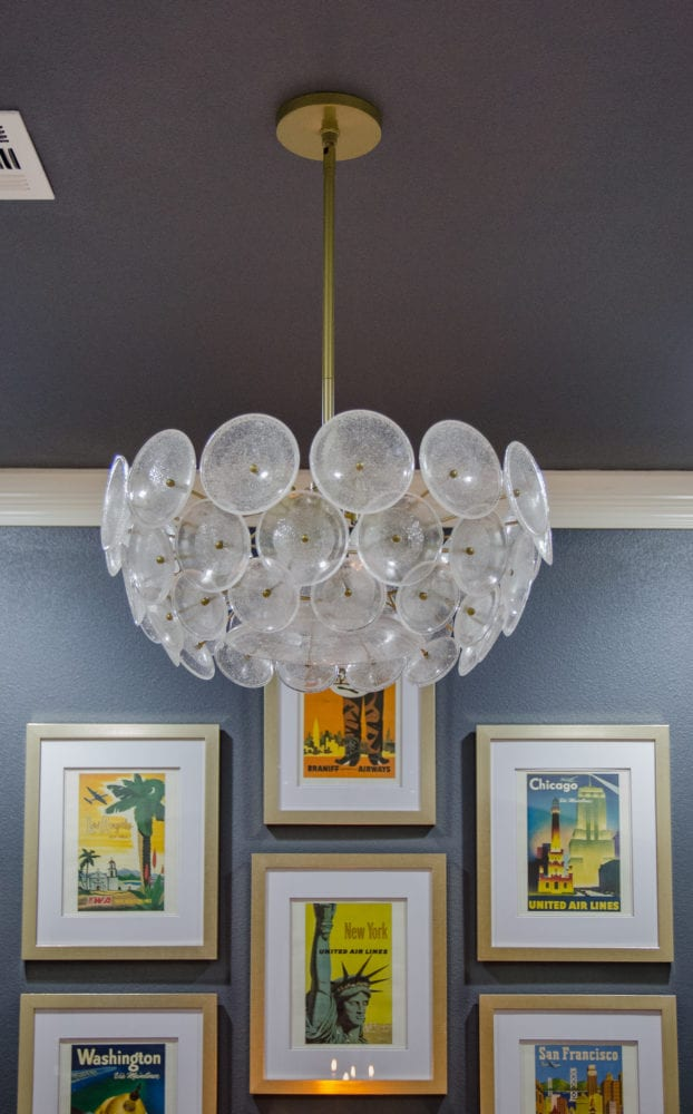 West Elm Disc Chandelier in Dining Room