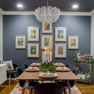 Modern Glam meets Mid-Century Christmas Dining Room