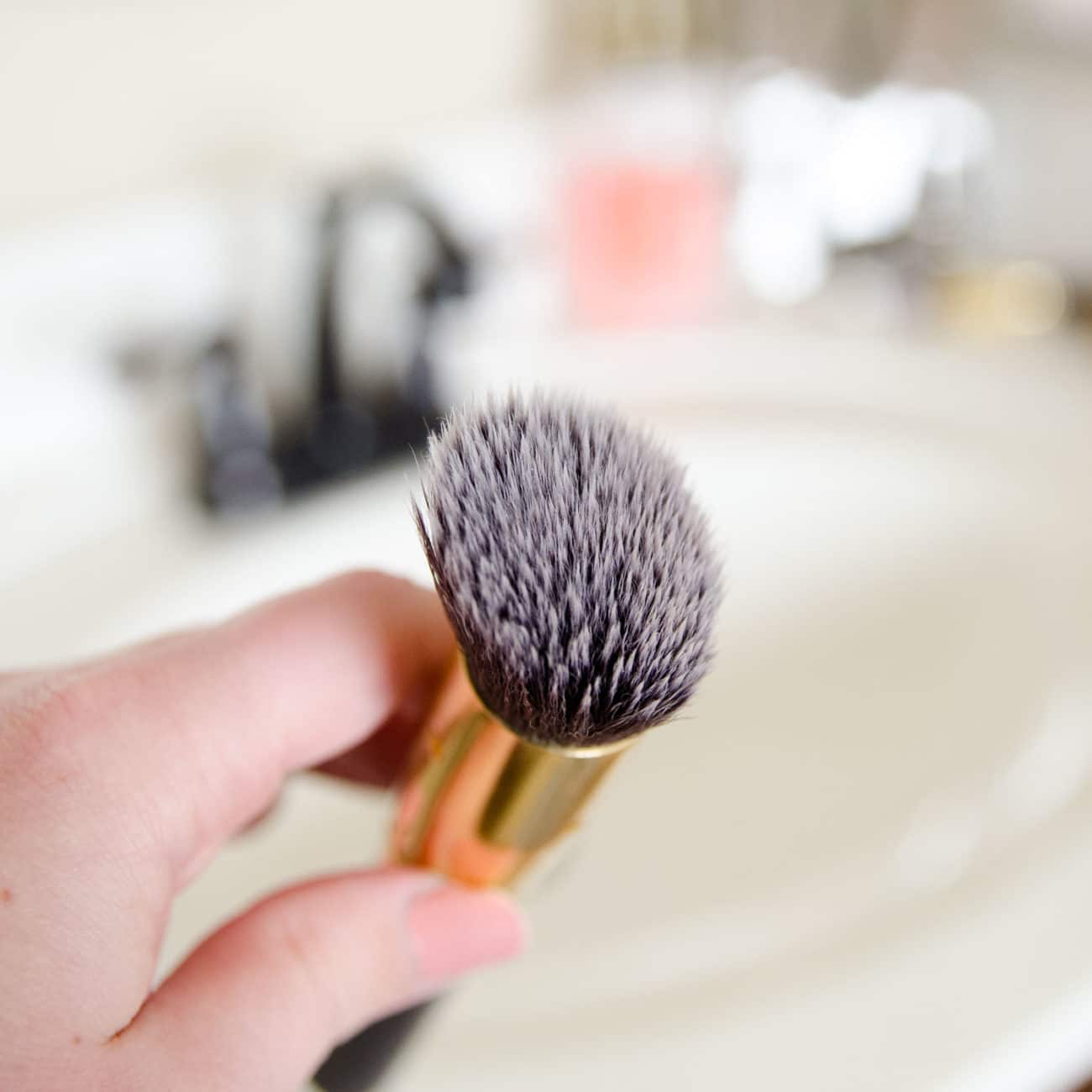 Make up brush after cleaning.