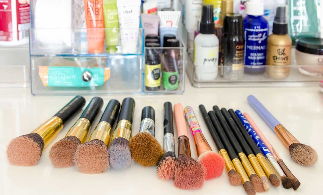Dirty Makeup brushes on bathroom counter