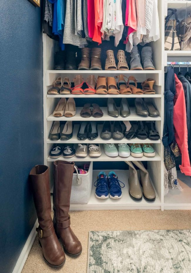 White Built In Closet Shelves with Women's Shoes