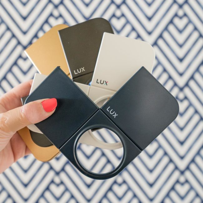Four covers for Lux Kono Smart Thermostat - paintable (I used gold), graphite, gloss white, and navy