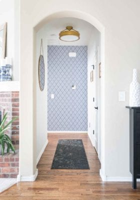 Brewster Wallcovering Geometric Peel & Stick Wallpaper in modern hallway