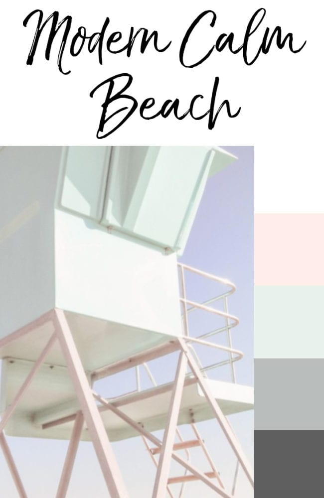 Modern Beach Color Scheme with Mint, Blush, and Gray Lifeguard Station
