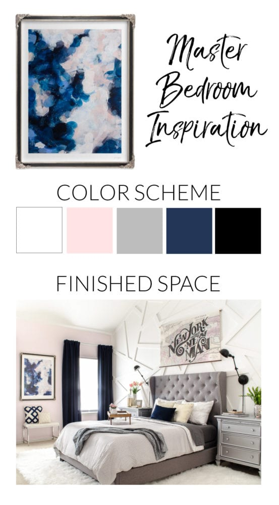 Abstract blue & blush art inspired this master bedroom palette