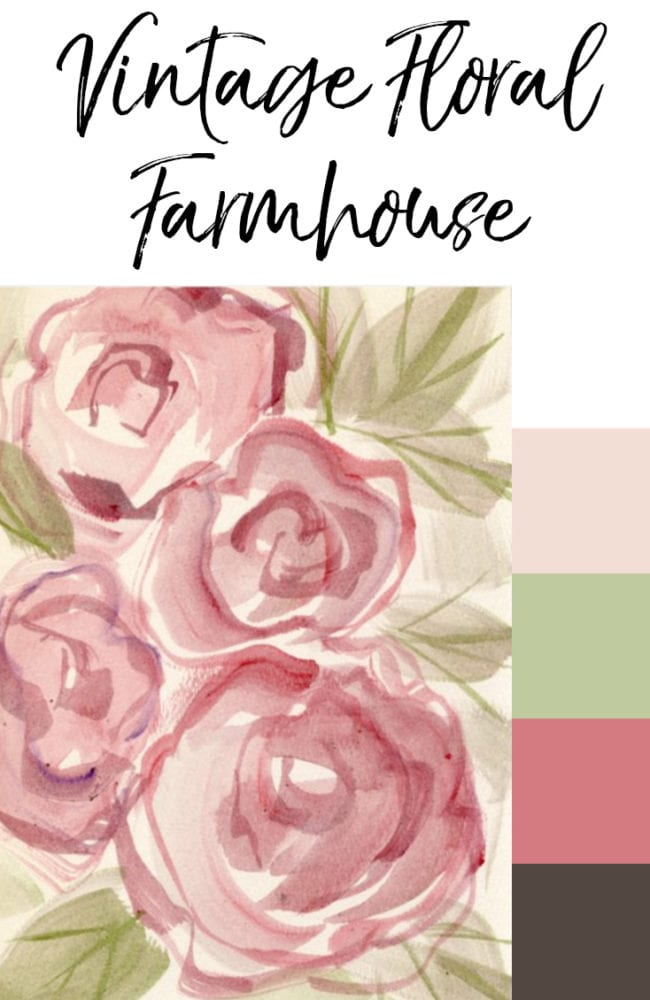 Vintage floral rose painting with pinks and greens