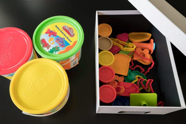 Play-doh and accessories stored / organized in a pretty photo box