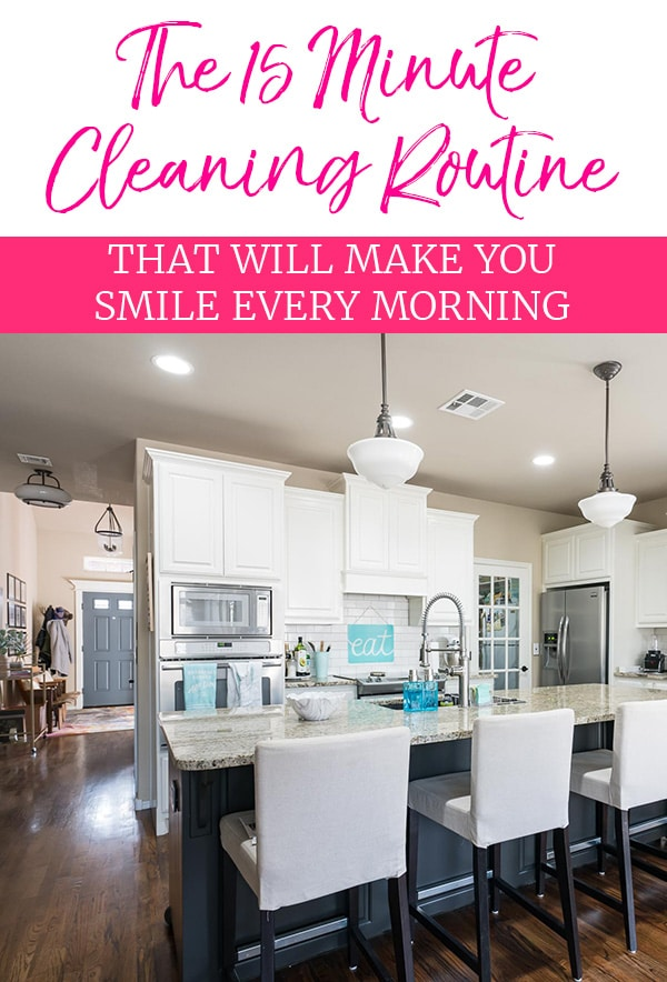 15 Minute Daily Cleaning Routine - Image of kitchen with clean and clear countertop