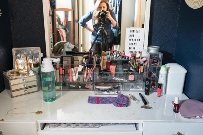 Messy Makeup Vanity
