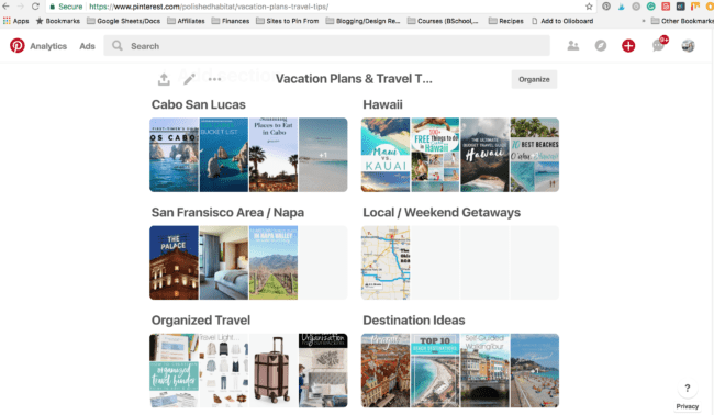 Vacation board broken down by destination on Pinterest