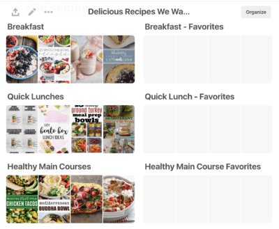 How to organize recipes on Pinterest