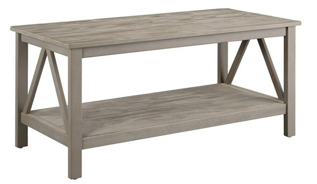 X leg coffee table - gray wood