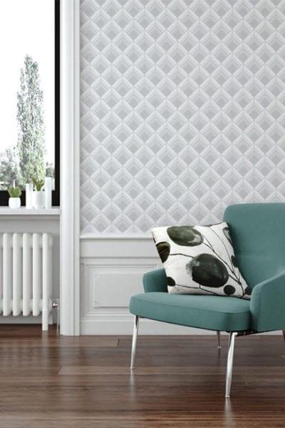 Silver Art Deco Wallpaper