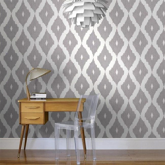 Gray ikat removable wallpaper