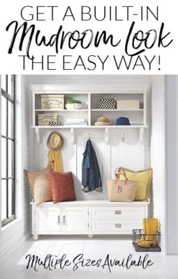 Freestanding mudroom furniture - white wood with lots of storage space