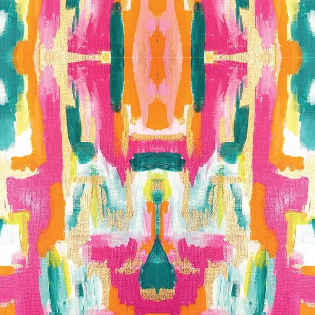 Bold Pink Abstract Wallpaper - Self - Adhesive