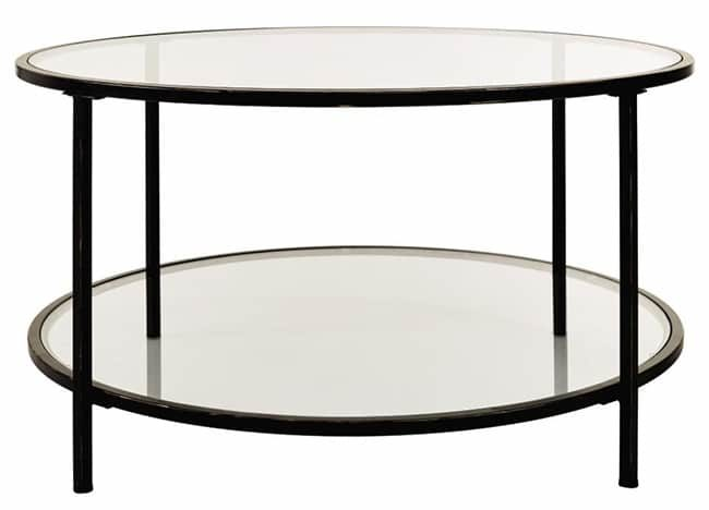Round glass coffee table with storage shelf