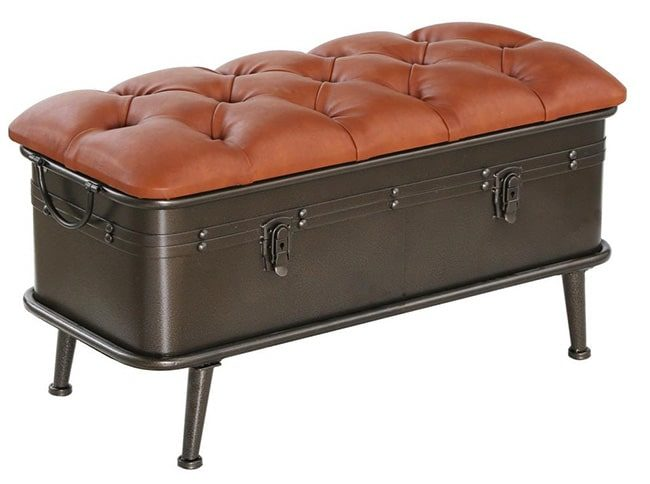 Industrial leather & metal storage ottoman