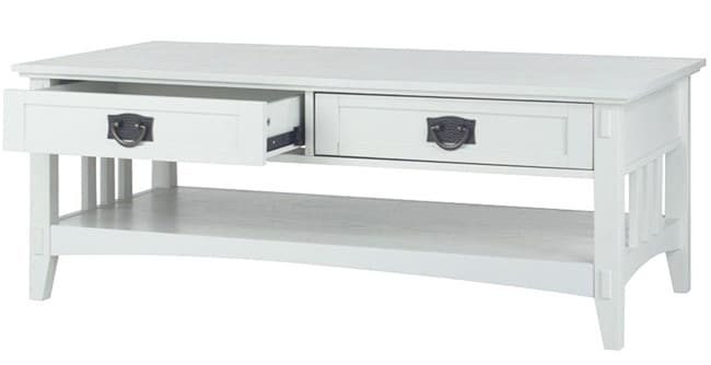 White coffee table with storage drawers.
