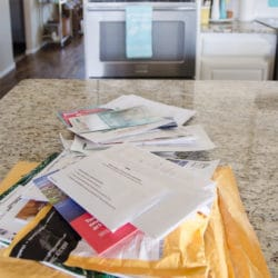 Mail piles on countertop